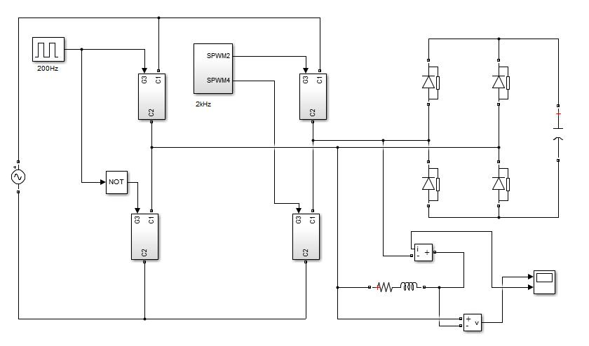 شبیه سازی مبدل ماتریسی همراه با مدار اسنابر در simulink نرم افزار matlab