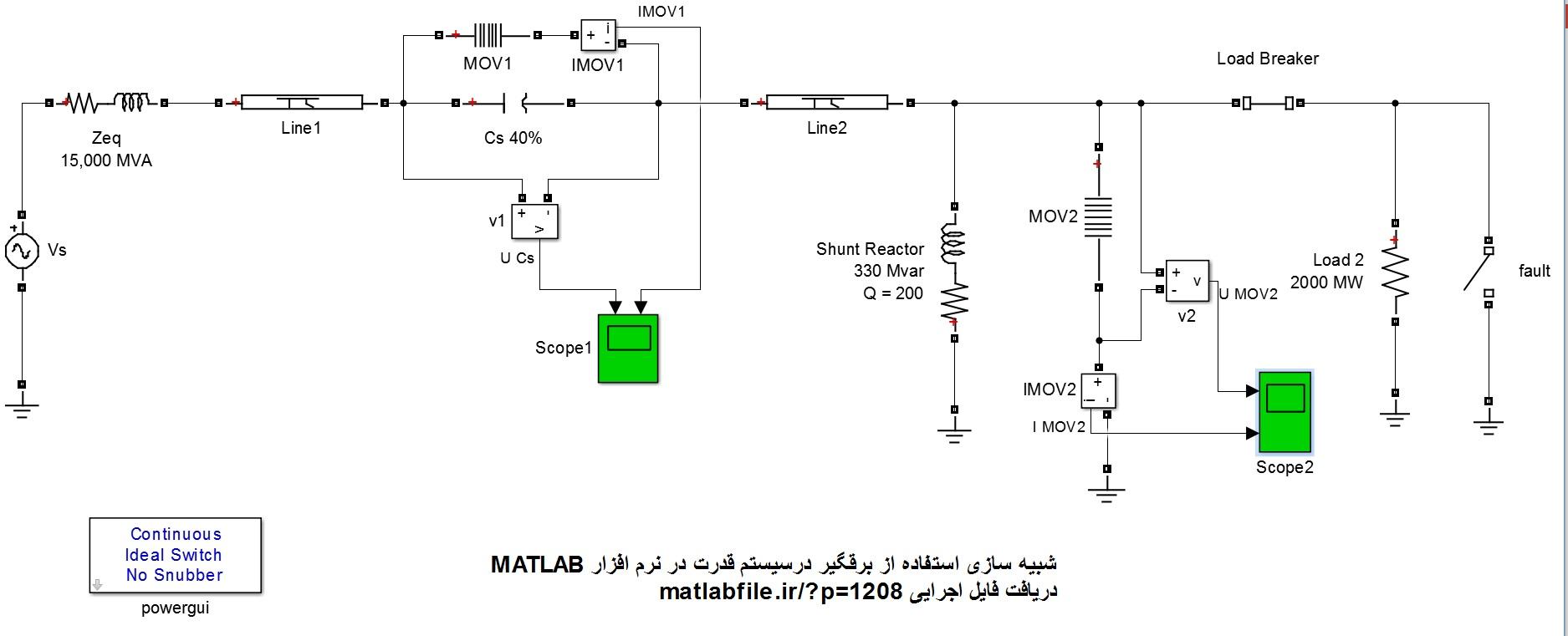شبیه سازی استفاده از برقگیر درسیستم قدرت در نرم افزار MATLAB