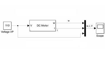مدلسازی موتور DC با خروجی توان،ولتاژ و جریان
