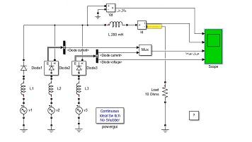 شبیه سازی یکسوساز سه فاز در محیط سیمولیتک متلب