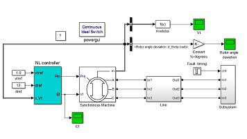 شبیه سازی کنترل غیر خطی یک ژنراتور سنکرون متصل به شین بی نهایت در نرم افزارMATLAB
