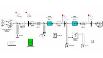 شبیه سازی خط انتقال سه فاز به همراه جبرانساز خازنی سری در Matlab