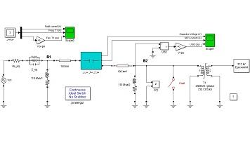 شبیه سازی استفاده از جبرانساز سری در شبکه قدرت در محیط Simulink نرم افزار Matlab